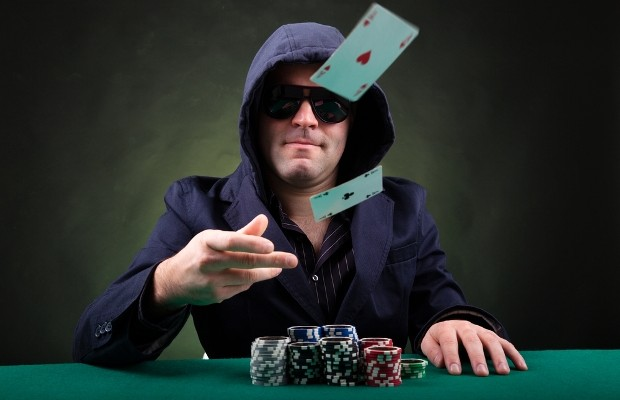 man with poker